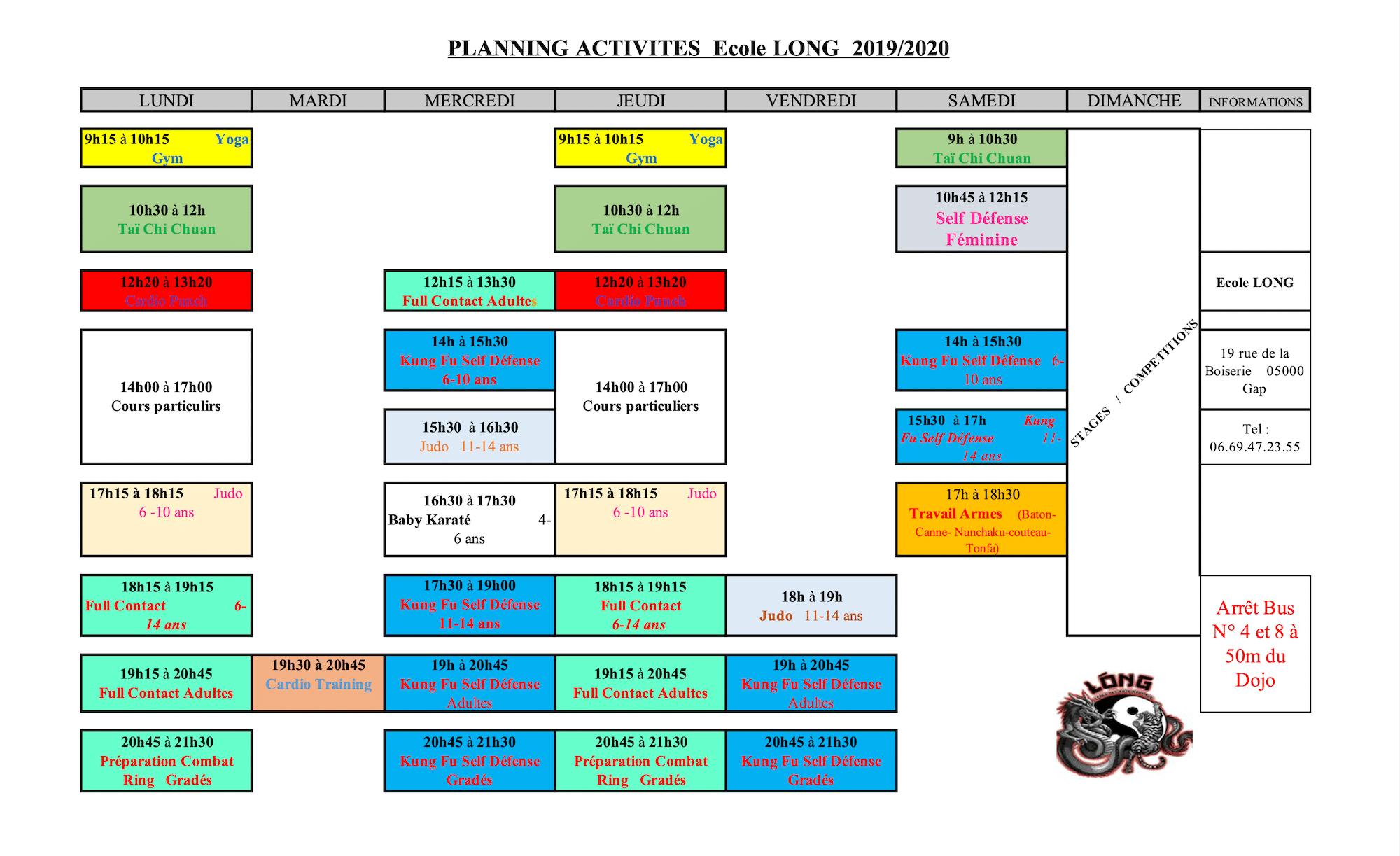 Planning Adrenaline sport santé 2019-2020